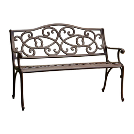 outdoor benches best selling home decor 26.77-in w x 48.42-in l antique brown aluminum SQERMGW
