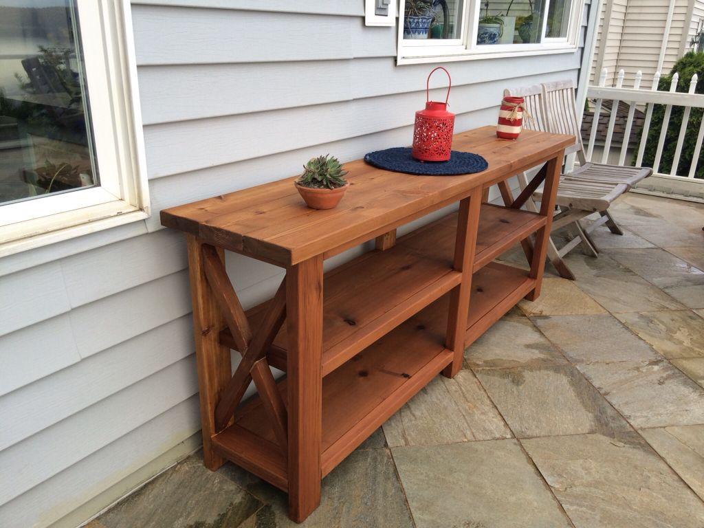 outdoor buffet table outdoor buffet/server built from cedar using ana whiteu0027s rustic x console UMDIZLJ