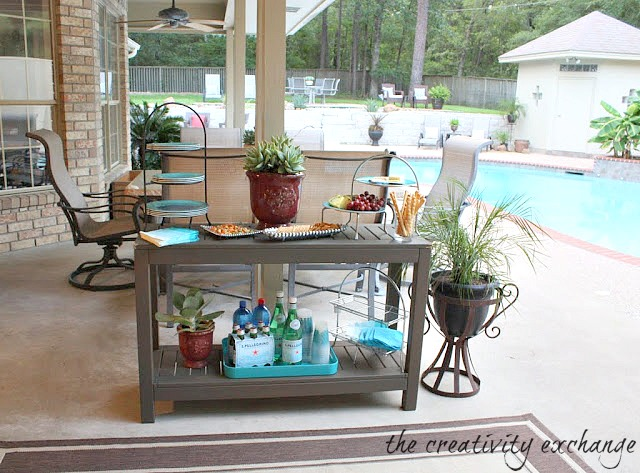 outdoor buffet table using a side table AOOZAKV