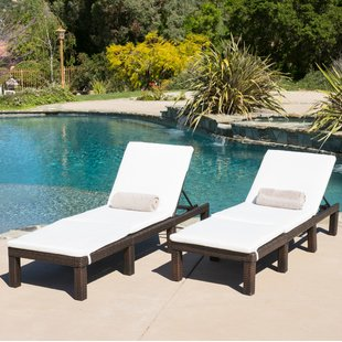outdoor chaise emelda reclining chaise lounge with cushion (set of 2) KWJQCRQ