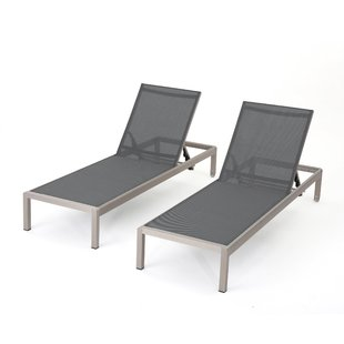 outdoor chaise lacon mesh chaise lounge set (set of 2) RNDUVIV