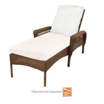 outdoor chaise lounge spring haven brown wicker patio chaise lounge ... XPTXNIW