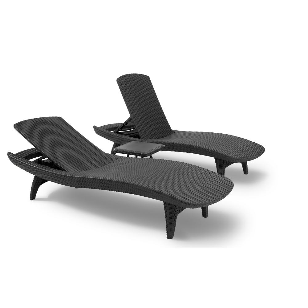 outdoor chaise pacific grey all-weather adjustable resin patio chaise lounger with side  table FULPPST