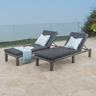 outdoor chaise puerta outdoor adjustable pe wicker chaise lounge with cushion by  christopher JGYQETN