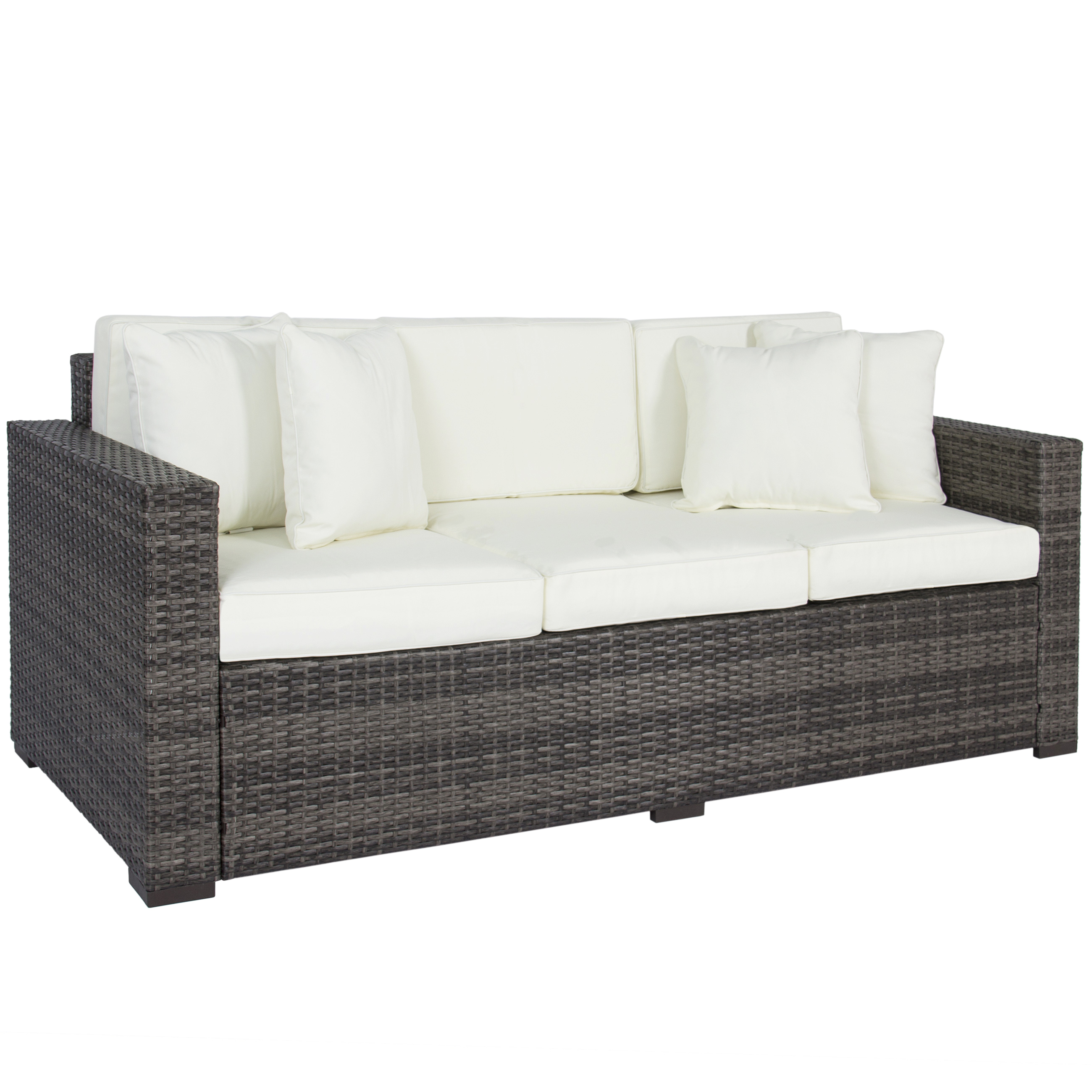 outdoor couch best choice products 3-seat outdoor wicker sofa couch patio furniture w/ ATXEGQX