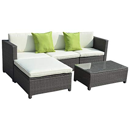 outdoor couch goplus5pc outdoor patio sofa set furniture pe wicker rattan deck couch HLTACTP