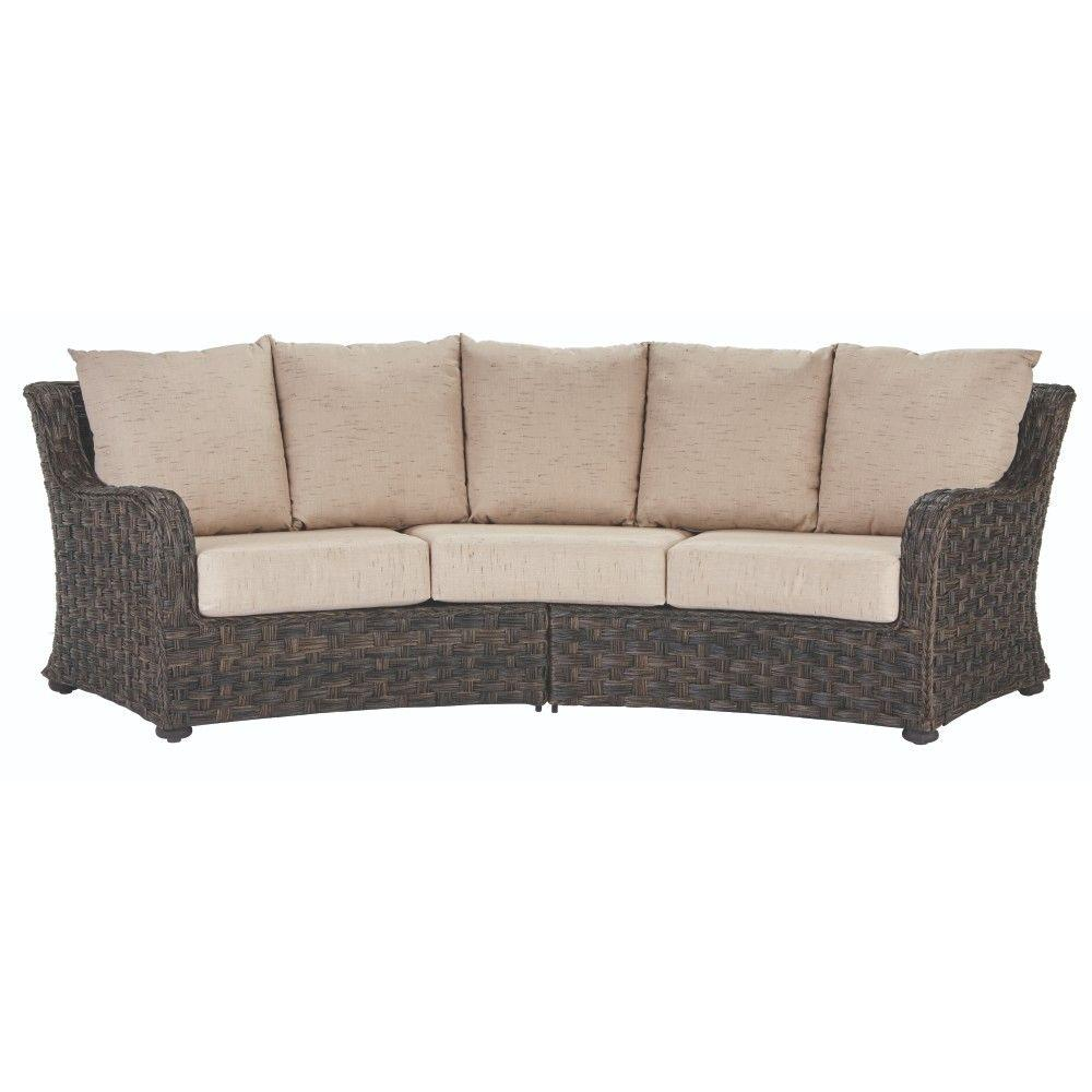 outdoor couch home decorators collection sunset point brown 3-seater outdoor patio sofa  with JGKWLWI