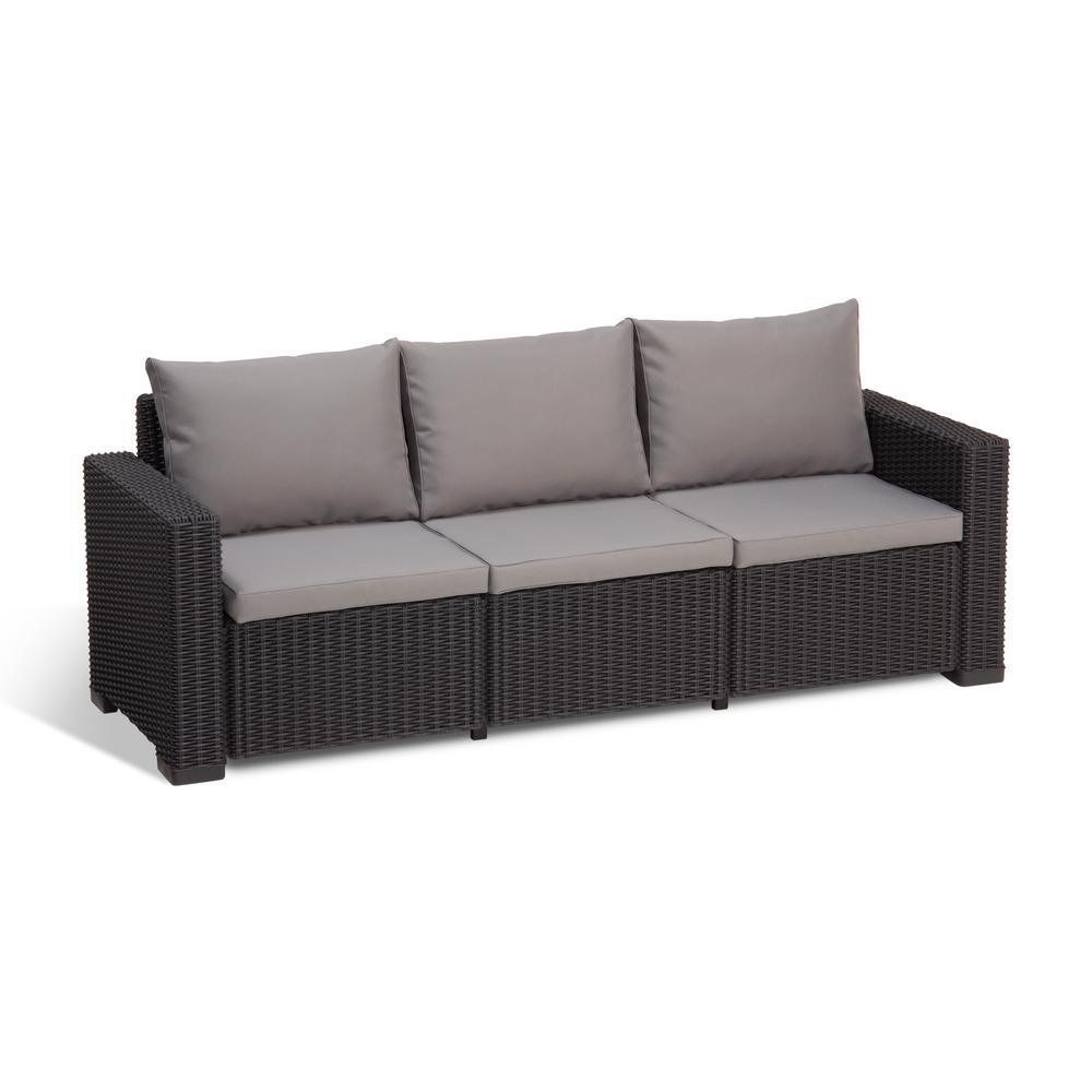 outdoor couch keter california graphite plastic wicker outdoor 3-seat sofa with cool grey KVHRRME