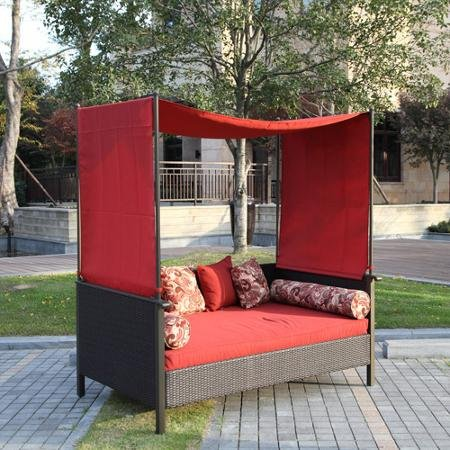 outdoor daybed with canopy amazon.com : providence outdoor uv protected day bed with canopy, red, DOYYUJM