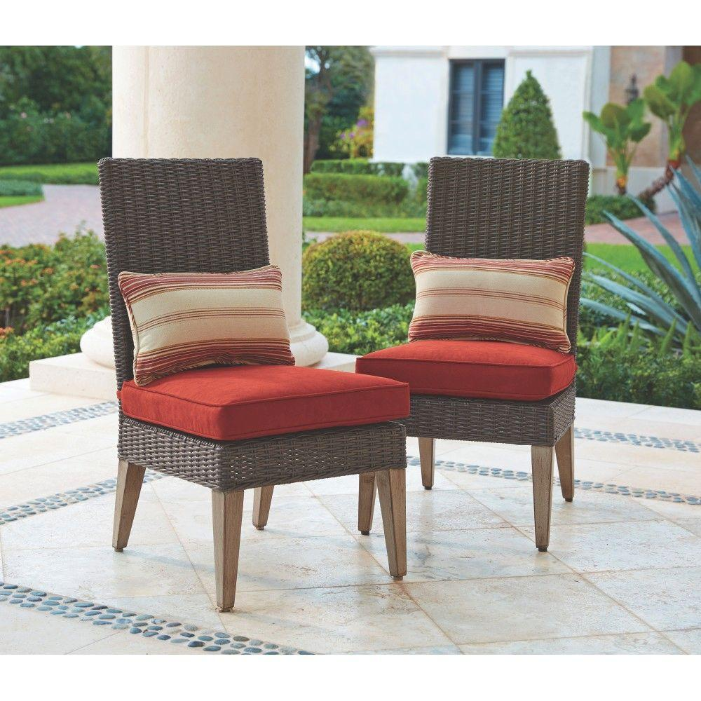 outdoor dining chairs home decorators collection naples brown all-weather wicker outdoor armless dining  chairs IZBKUTL