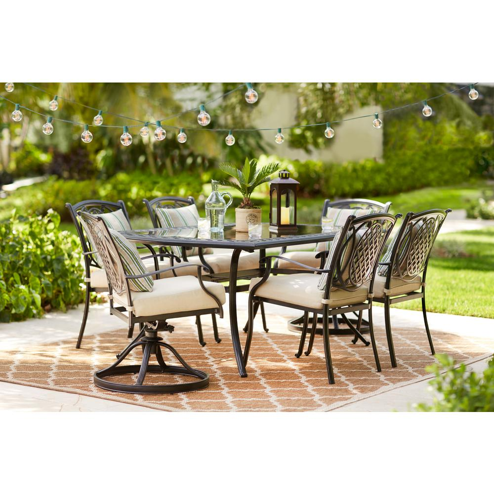 outdoor dining sets hampton bay belcourt 7-piece metal outdoor dining set with cushionguard  oatmeal DSKJYVL