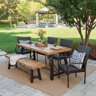 outdoor dining sets salons outdoor 6-piece rectangle wicker wood dining set by christopher  knight WWNFACI