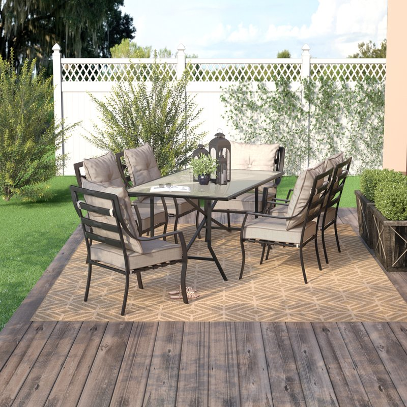 outdoor dining sets sweetman 7 piece outdoor dining set with cushion UJKIVUR