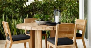 outdoor dining table larnaca outdoor round dining table | williams sonoma OXQQZBW