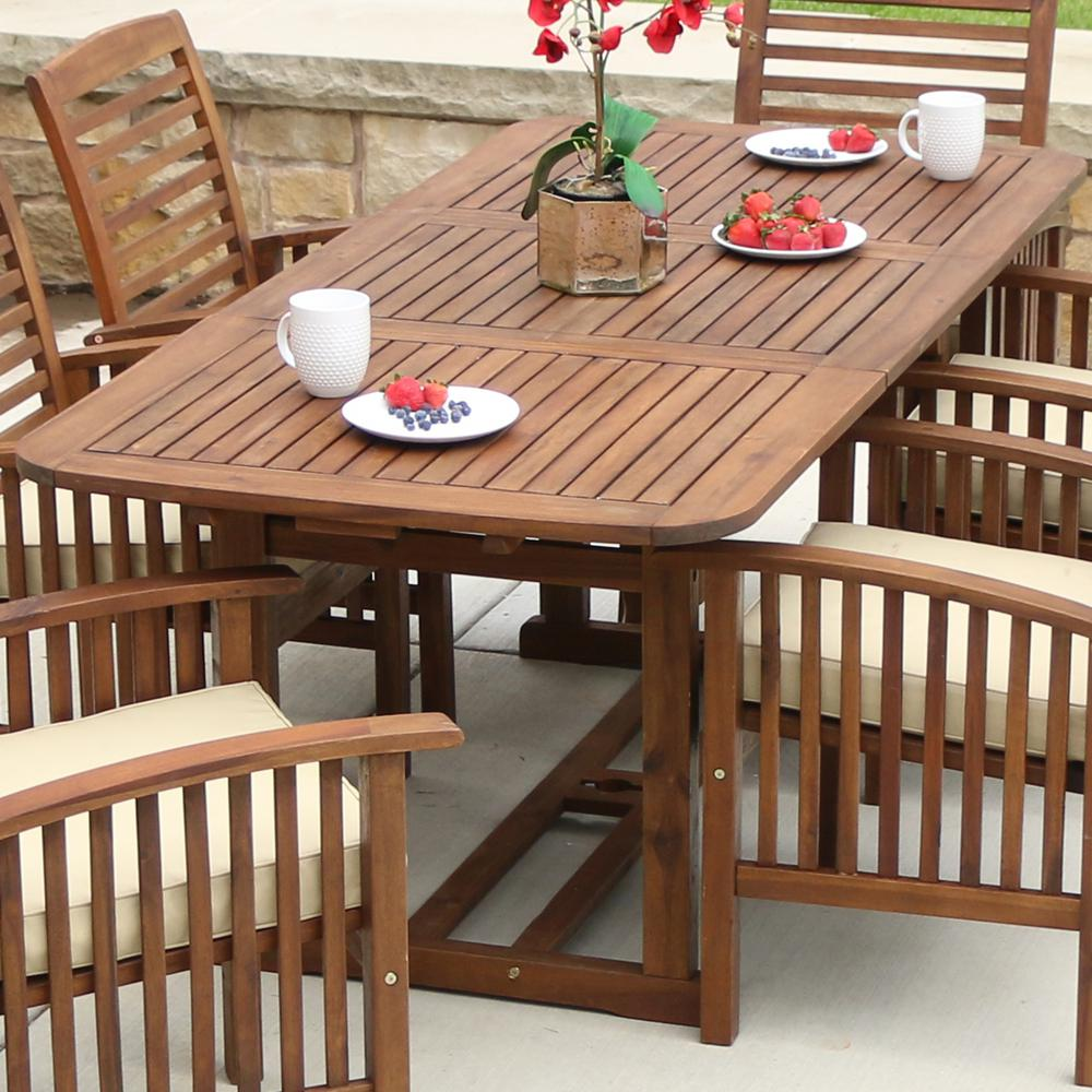 outdoor dining table walker edison furniture company boardwalk dark brown acacia wood extendable outdoor YVWUFGE