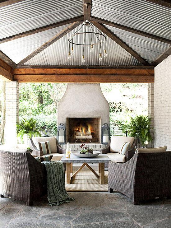 outdoor fireplace designs outdoor fireplace ideas | better homes u0026 gardens DRZFPXO