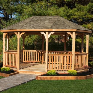 outdoor gazebo 18 ft. w x 12 ft. d solid wood patio gazebo TTNARDF