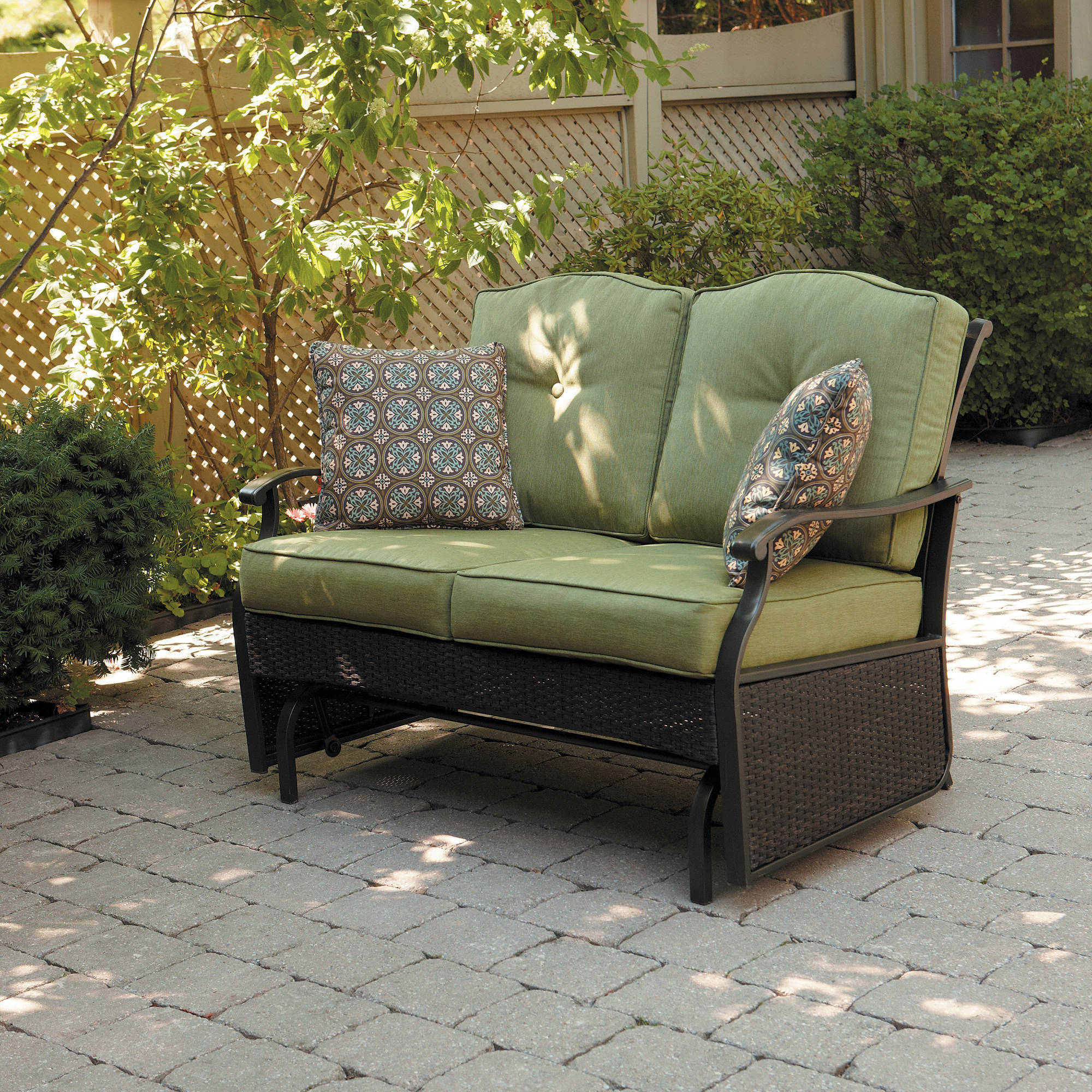 outdoor gliders better homes u0026 gardens providence 2-person outdoor glider loveseat -  walmart.com RRYBWEO