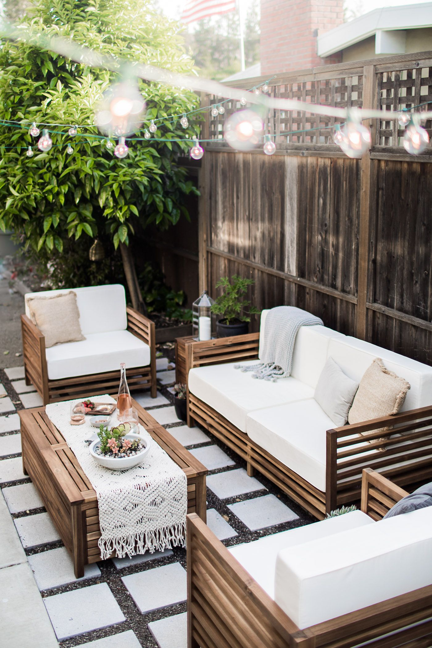 outdoor living furniture gravel and cement- 17 modern