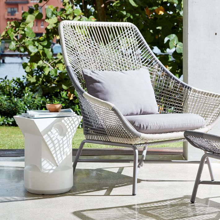 outdoor lounge chairs huron outdoor large lounge chair + cushion | west elm FRIEPWY