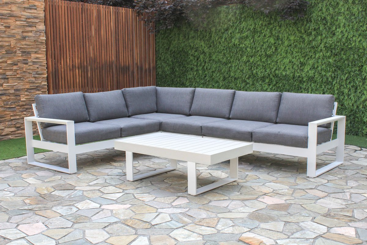 outdoor lounge manly 5-piece aluminium outdoor modular lounge setting | furnitureokay MHQGTXG