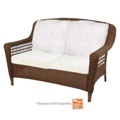 outdoor loveseat spring haven brown wicker outdoor patio loveseat with cushions included,  choose VTQWFLV