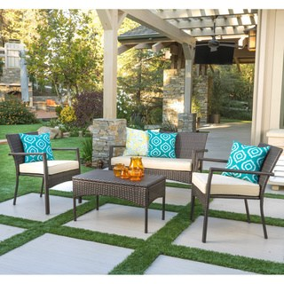 outdoor patio cancun outdoor 4-piece wicker chat set with cushions by christopher knight ZVKOTAS