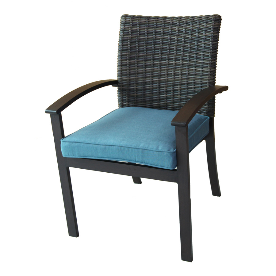 outdoor patio chairs allen + roth atworth set of 4 aluminum dining chairs with peacockblue AGWHWKB