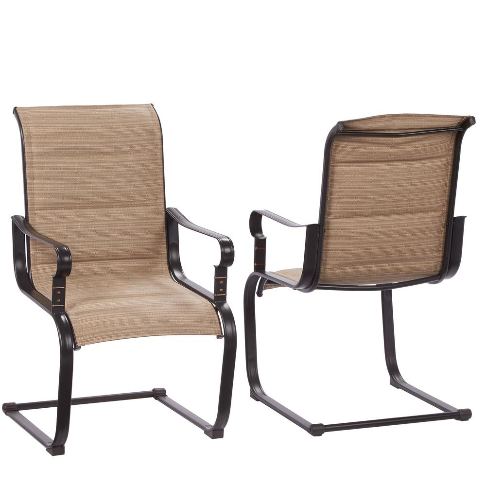 outdoor patio chairs hampton bay belleville rocking padded sling outdoor dining chairs (2-pack) GGWCQWU