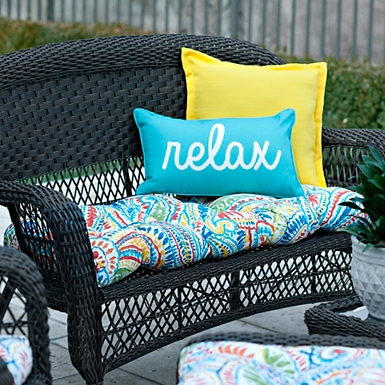 outdoor patio cushions ummi multicolor outdoor settee cushion kirklands patio cushions HCWHFIF