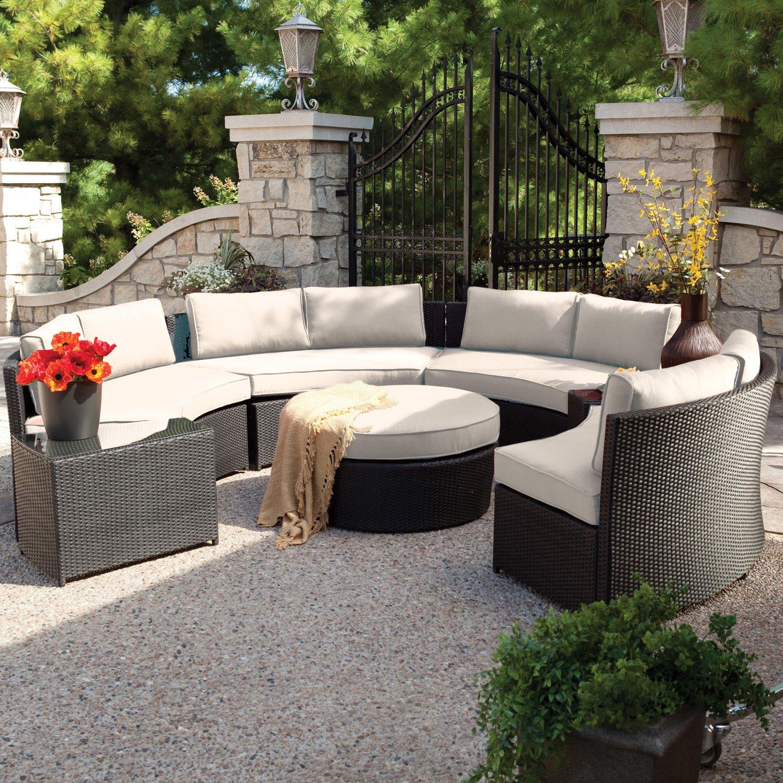 outdoor patio furniture sets belham living meridian round outdoor wicker patio furniture set with  sunbrella ZLZTLJL