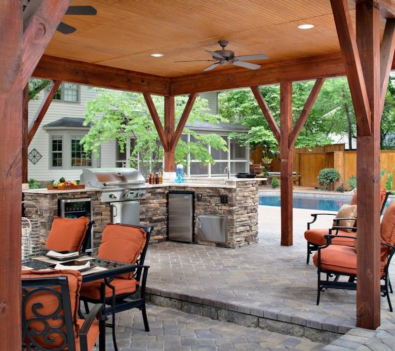 outdoor patio ideas stone outdoor kitchen FRHOGFS