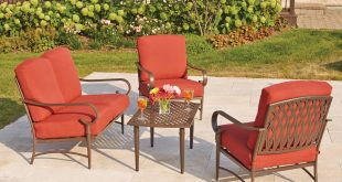 outdoor patio sets oak cliff 4-piece metal outdoor deep seating set with chili cushions DDRPYNU