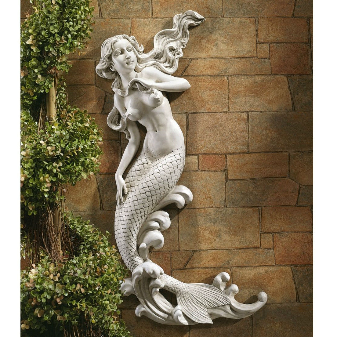 outdoor patio wall decor mermaid wall-mounted garden statue IPFGLMH