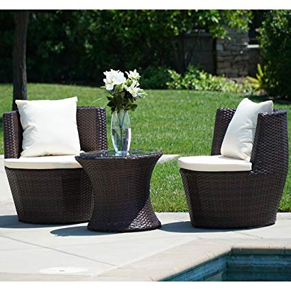 outdoor rattan furniture belleze 3pc patio outdoor rattan patio set wicker backyard yard furniture RNLECPA