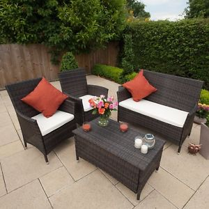outdoor rattan furniture image is loading outdoor-rattan-furniture-set-table-2-armchair-sofa- FOUFINF