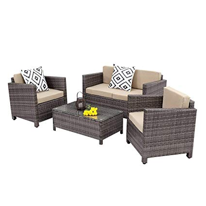 outdoor rattan furniture wisteria lane outdoor patio furniture set,5 piece conversation set rattan  sectional VGHEATW