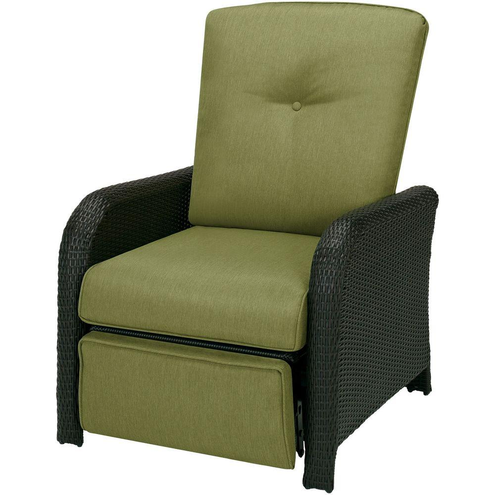 outdoor recliner hanover strathmere 1-piece outdoor reclining patio lounge chair with  cilantro green YUPJJGL