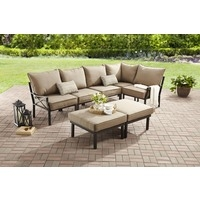 outdoor sectional sofa mainstays sandhill 7-piece outdoor sofa sectional set, seats 5 BDMTOJC