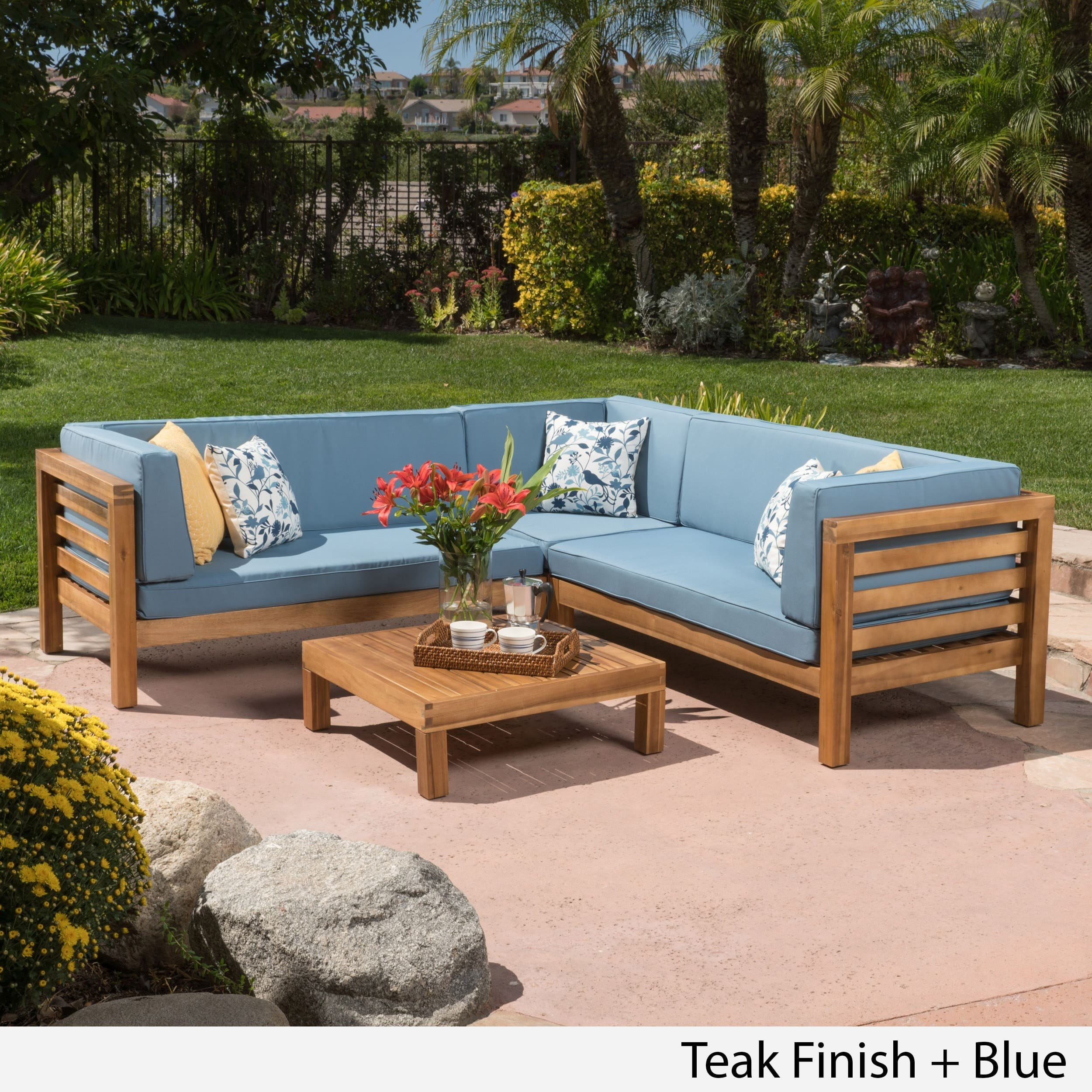outdoor sectional sofa shop oana outdoor 4-piece acacia wood sectional sofa set with cushions by GZFVQSV