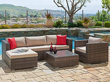 outdoor sectional sofa suncrown outdoor furniture sectional sofa u0026 chair (6-piece set) all-weather RXXXYTP