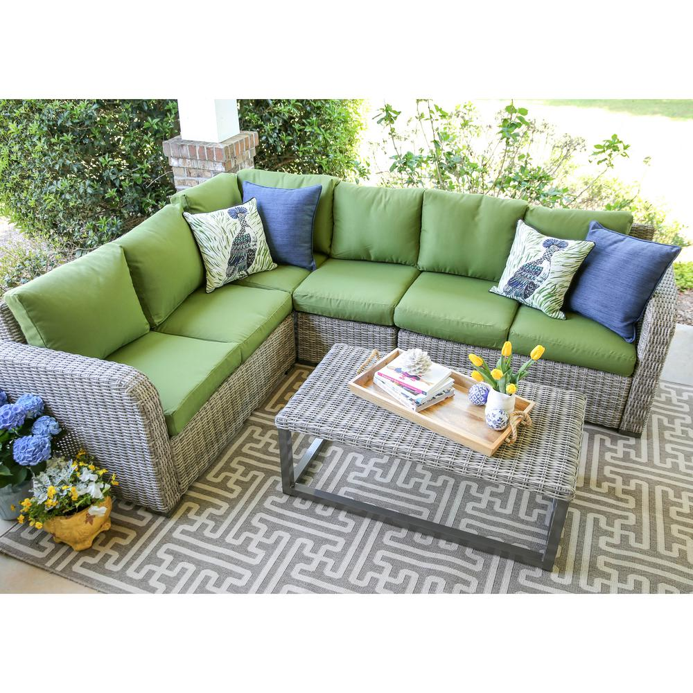outdoor sectionals leisure made forsyth 5-piece wicker outdoor sectional set with green  cushions QCHXRYH