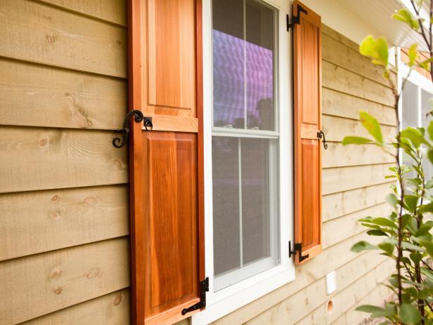 outdoor shutters red cedar cabin shutters KIFUHKL