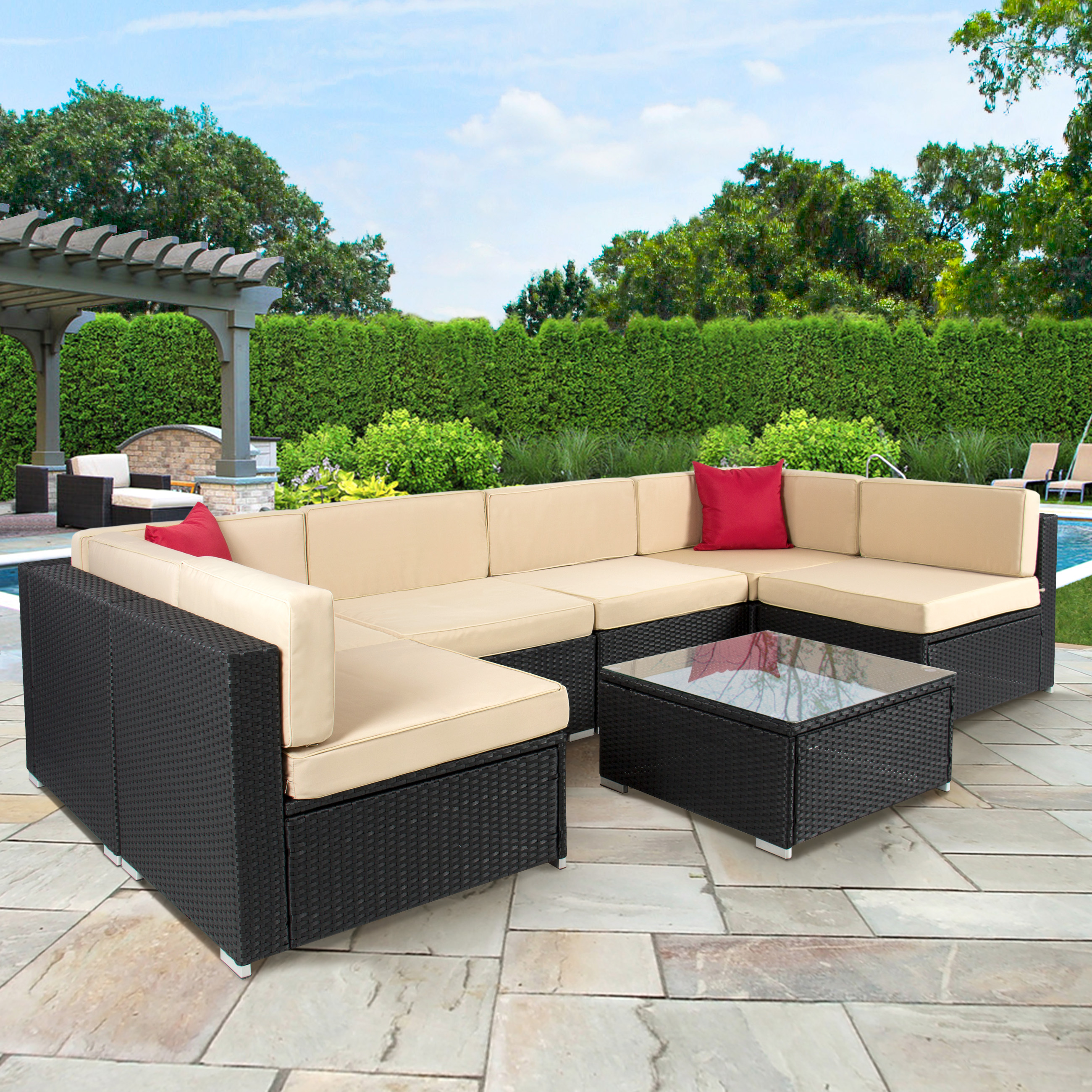 outdoor wicker furniture 4pc outdoor patio garden furniture wicker rattan sofa set black - TJPMZNO