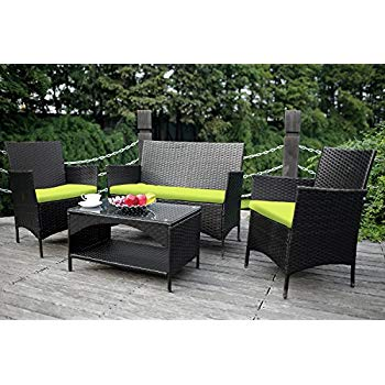 outdoor wicker furniture merax 4-piece outdoor pe rattan wicker sofa and chairs set rattan patio YPINZCI