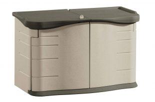 outside storage amazon.com : rubbermaid outdoor split-lid storage shed, 18 cu. ft.,  olive/sandstone CMEJMMA