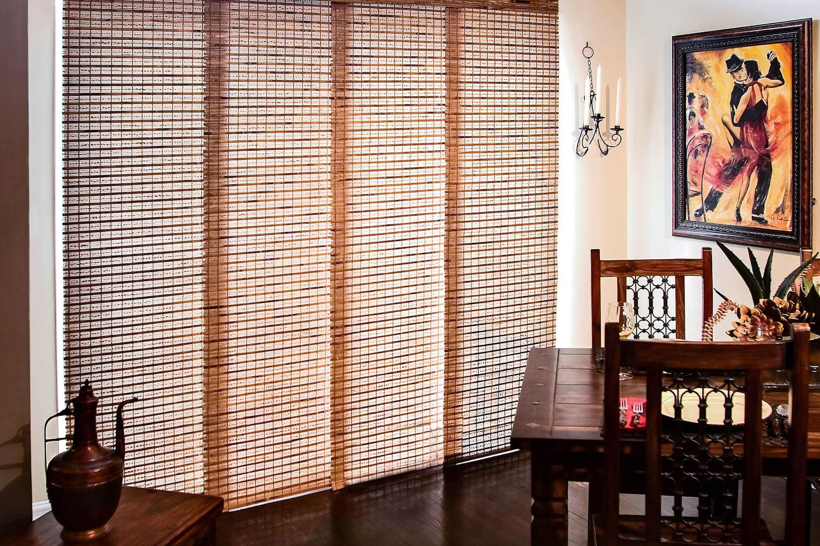 panel track blinds custom woven wood panel track compliments the dining room furniture SNSHHVX
