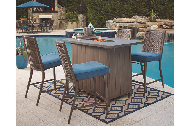 partanna 5-piece outdoor bar table set, , large ... KXZHCGV