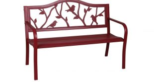 patio benches garden treasures 23.5-in w x 50.4-in l red steel patio bench USPWLSQ