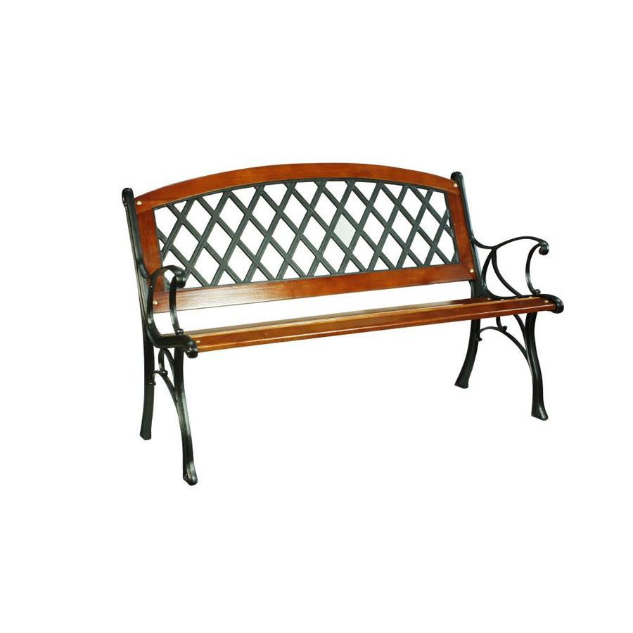 patio benches garden treasures 25.95-in w x 50-in l brown steel patio bench DEMZHHJ